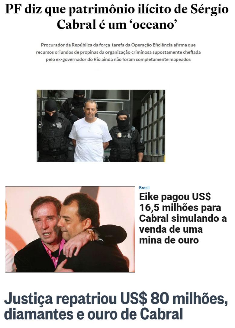 Reproduções do Estadão, Veja e Globo