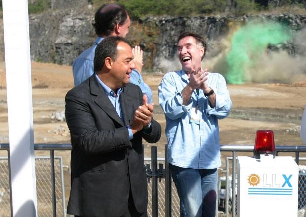 Sérgio Cabral e Eike Batista comemoram o início das obras do Porto do Açu