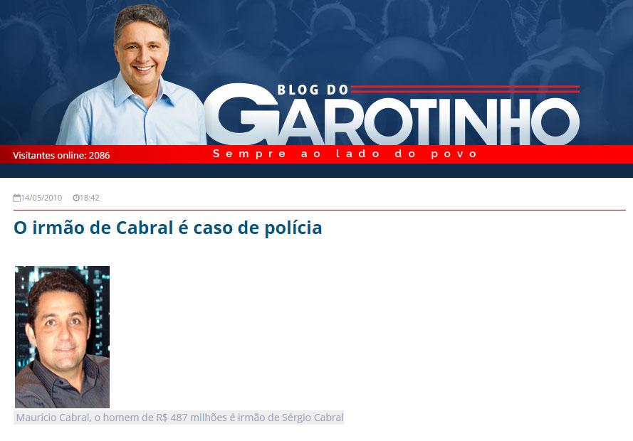 Reprodução do Blog do Garotinho (2010)