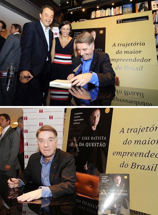 """Sérgio Cabral e Adriana Ancelmo no lançamento do livro de Eike Batista """"O X da questão"""""""