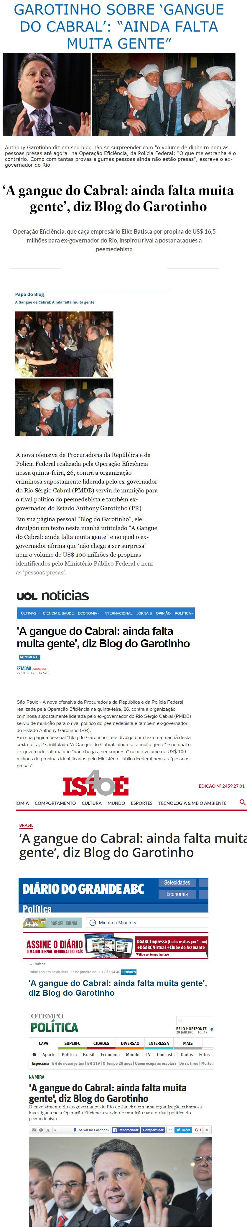 Reproduções do Brasil 247, Estadão, UOL, IstoÉ, Diário do Grande ABC, O Tempo