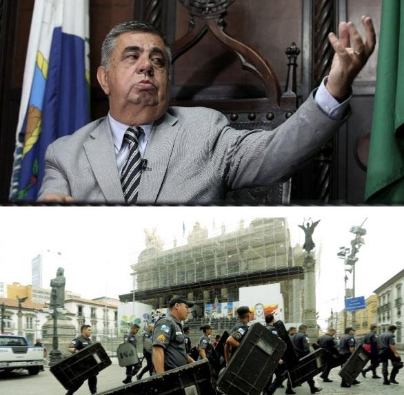 Jorge Picciani e a ALERJ cercada por policiais