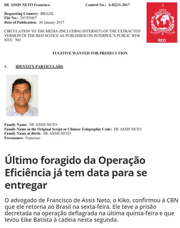 No alto reprodução do site da Interpol; abaixo manchete da CBN