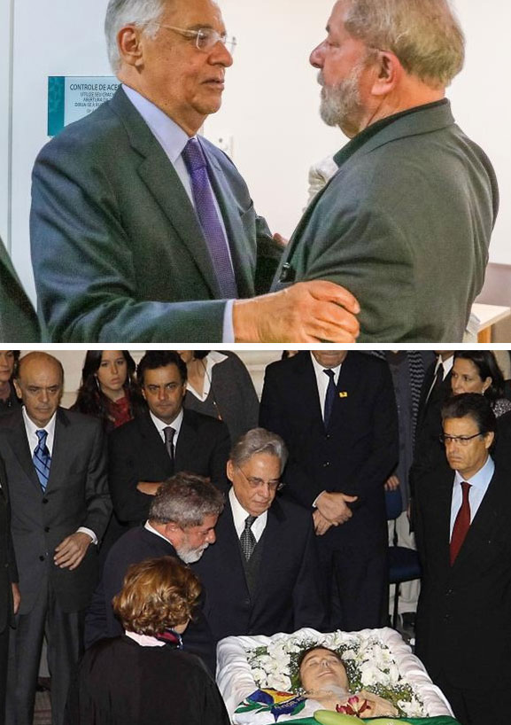 Lula recebe a solidariedade de FHC depois de anunciada morte cerebral de Dona Marisa; abaixo Lula e Dona Marisa com Fernando Henrique no velório de Dona Ruth Cardoso, em 2008