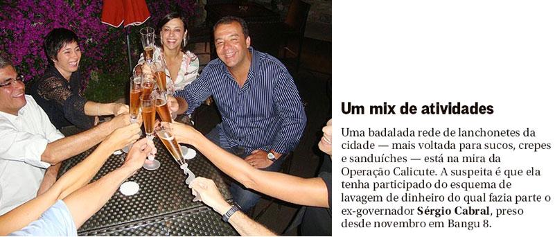 Sérgio Cabral e Adriana Ancelmo e o casal Luiz Carlos Bezerra (operador preso em Bangu) brindam com champanhe em Mõnaco numa farra pela Europa; ao lado reprodução da coluna Gente Boa, do Globo