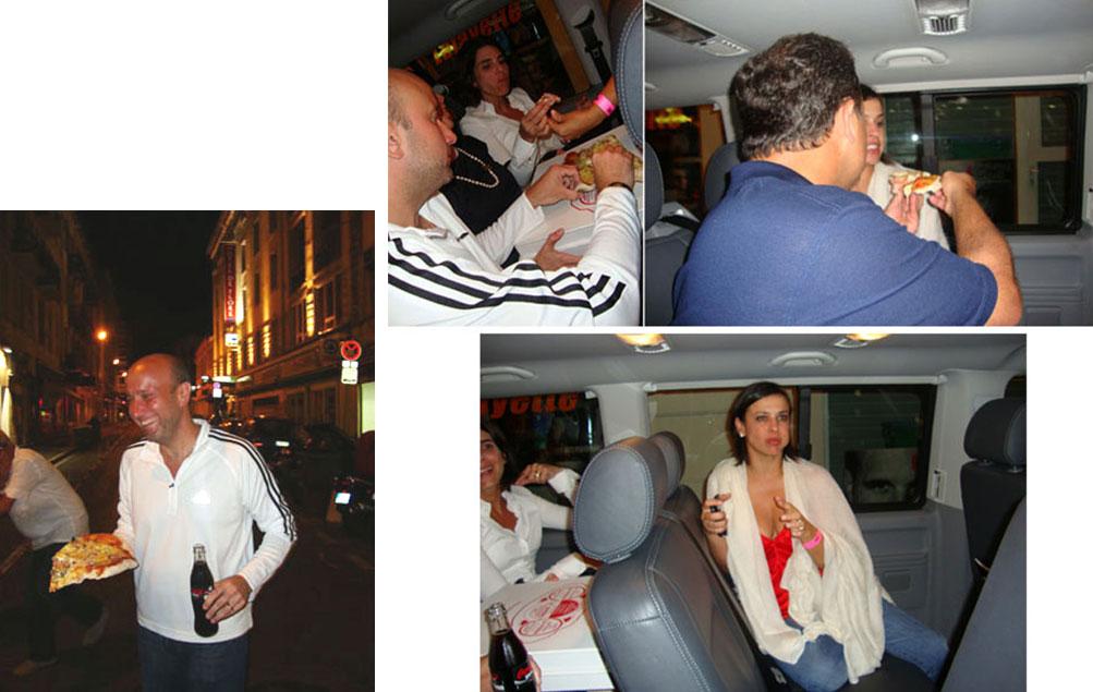 Sérgio Côrtes comendo pizza em Paris, depois de show do U2, com Cabral e Adriana Ancelmo