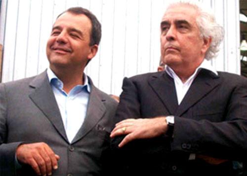 Sérgio Cabral com o empresário Ronald de Carvalho, que forneceu as UPAs e UPPs de lata