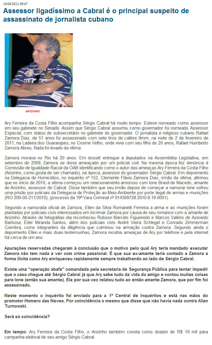 Reprodução do Blog do Garotinho (2011)