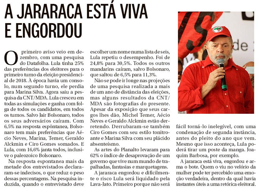 Reprodução da coluna de Elio Gaspari, do Globo