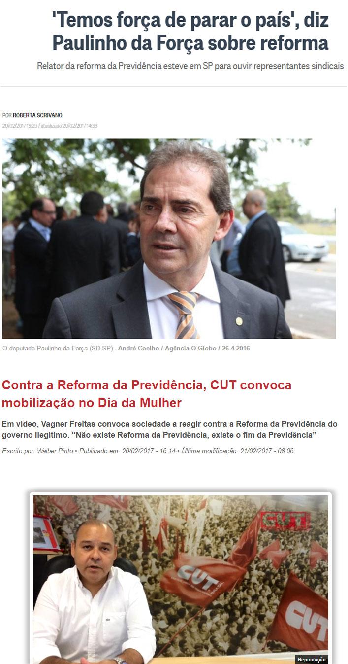 Reproduções do Globo online e do site da CUT