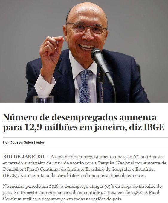 Ministro da Fazenda, Henrique Meirelles; abaixo reprodução do Valor Econômico