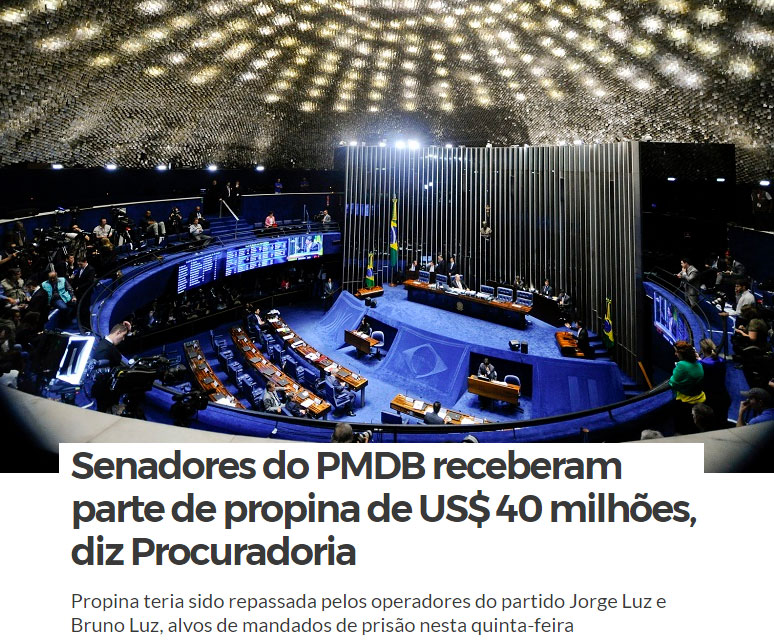 No alto o plenário do Senado; abaixo manchete do Zero Hora