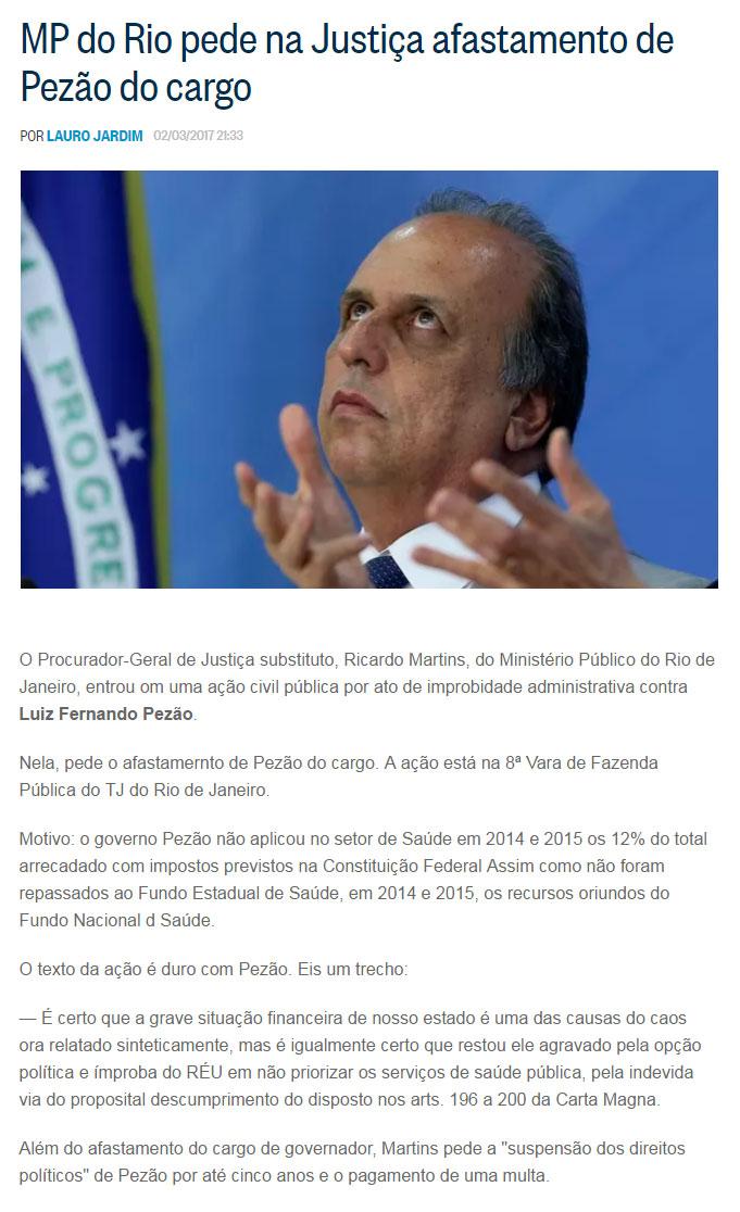 Reprodução do blog de Lauro Jardim, do Globo