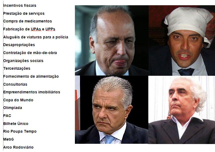 No sentido horário: Pezão, George Sadala (Rio Poupa Tempo), Ronald Carvalho (contêineres das UPAs e UPPs) e Julio Lopes (Metrô)