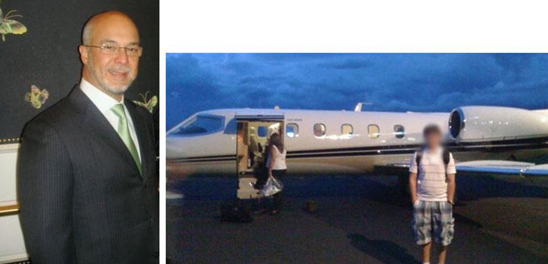 Rei Arthur; ao lado o avião do empresário, que foi utilizado várias vezes por Sérgio Cabral