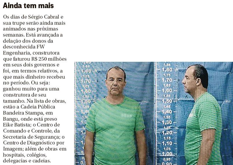 Nota da coluna de Lauro Jardim, do Globo