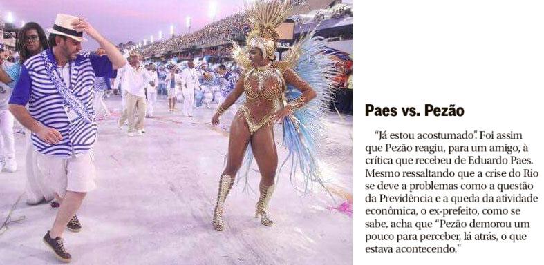 Eduardo Paes no Desfile das Campeãs; ao lado nota da coluna de Ancelmo Gois, do Globo