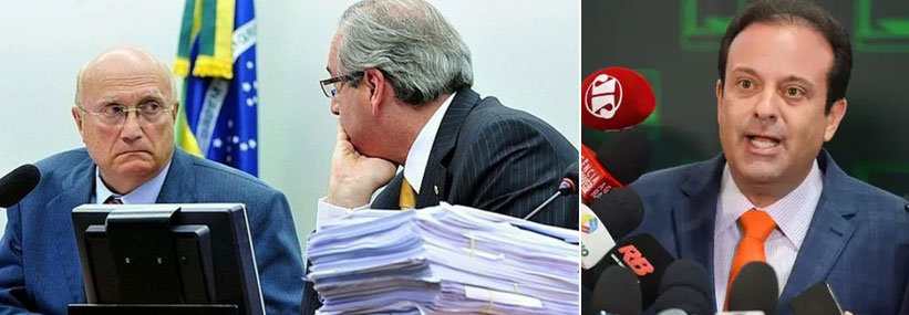 Osmar Serraglio (PMDB-PR) com Eduardo Cunha; ao lado André Moura (PSC-SE)