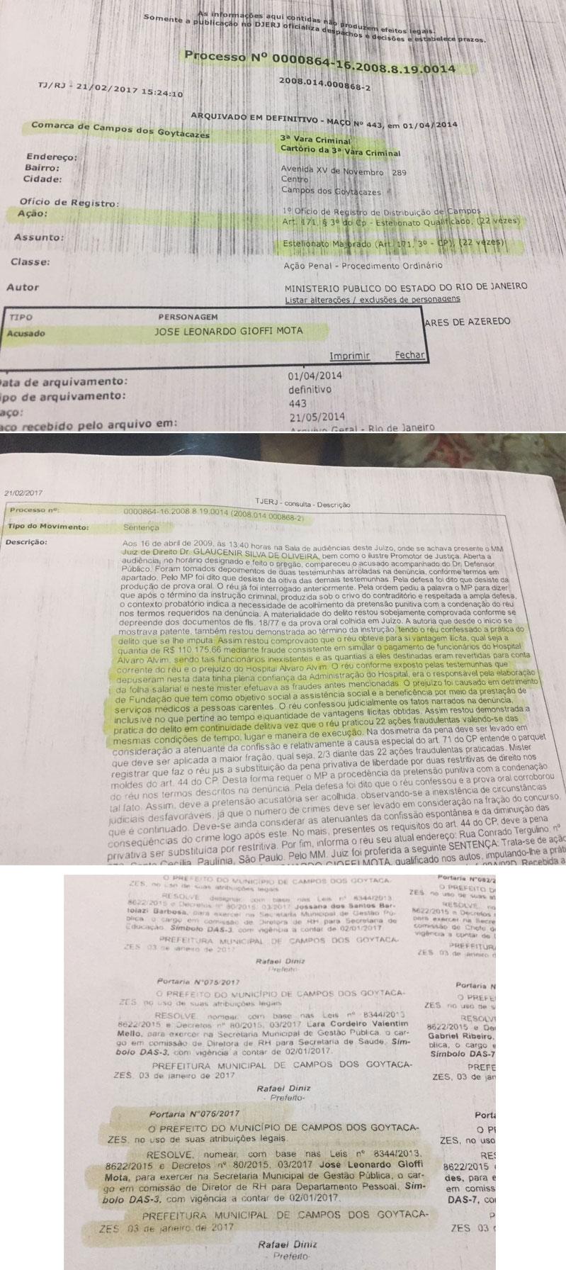 Sentença que condenou estelionatário; abaixo sua nomeação pelo prefeito Rafael Diniz