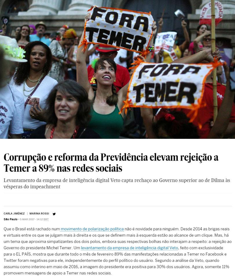 Reprodução do site do jornal El País (versão Brasil)