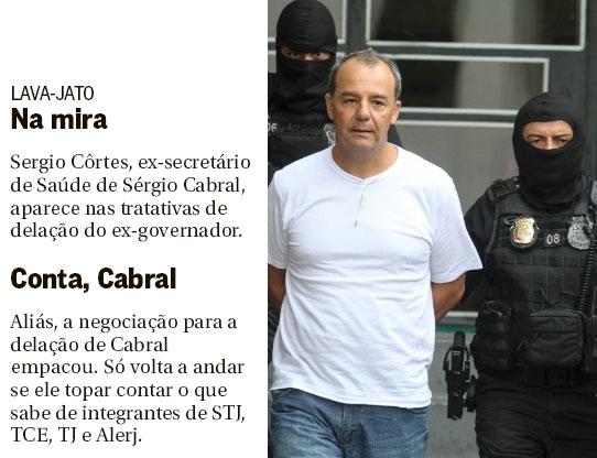 Notas da coluna de Lauro Jardim, no Globo; ao lado Cabral sendo conduzido pela Polícia Federal