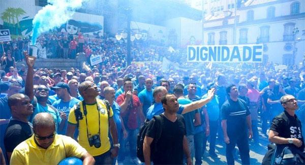 Servidores da Segurança Pública em recente protesto na frente da ALERJ