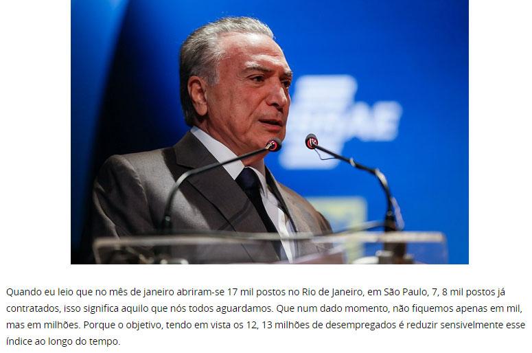 Michel Temer; abaixo trecho de discurso proferido nesta quinta-feira no Palácio do Planalto