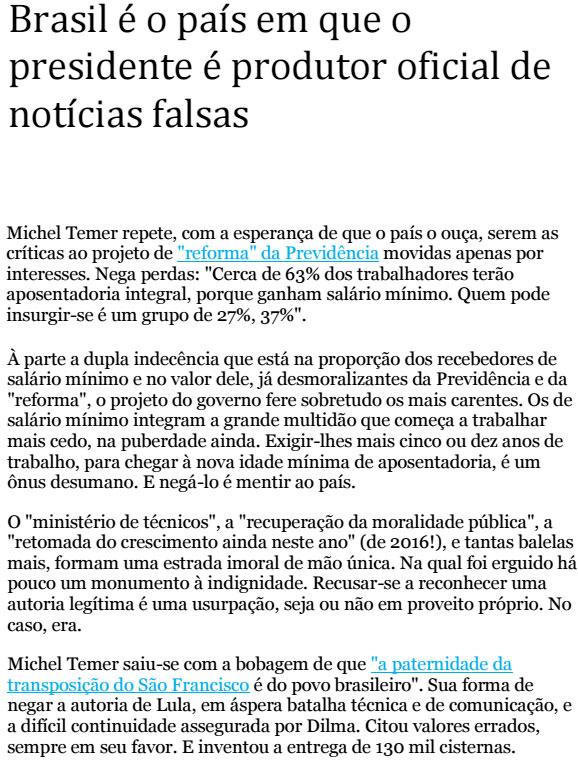 Reprodução da coluna de Jânio de Freitas, da Folha de S. Paulo