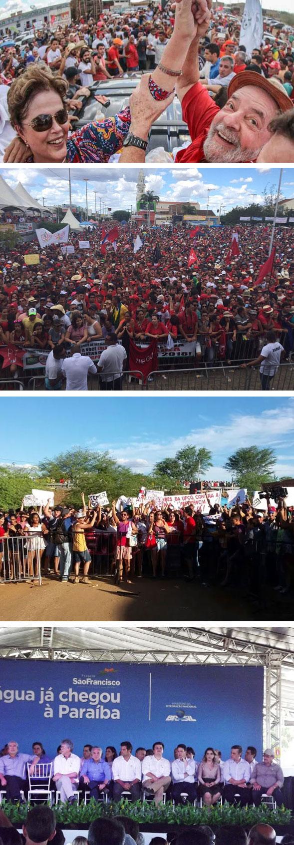 Lula e Dilma ontem em Monteiro (PB) recebidos por multidão: Temer longe do povo e enfrentando protesto no mesmo local na semana passada