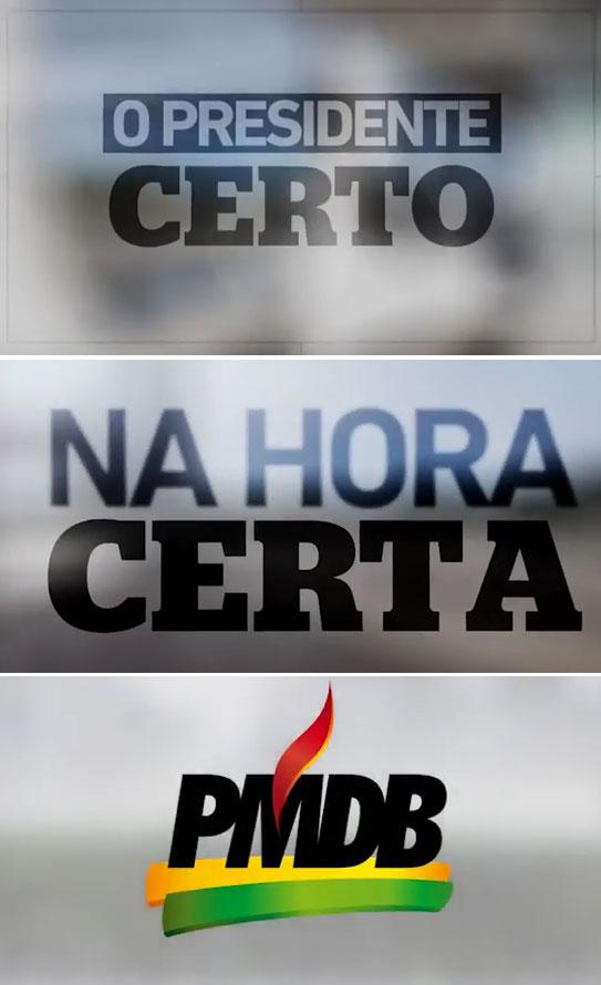 Imagens da propaganda do PMDB