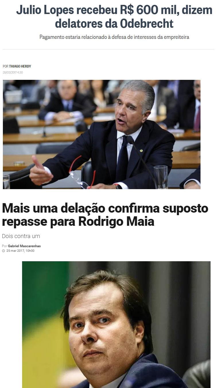 Reproduções do Globo e da Veja