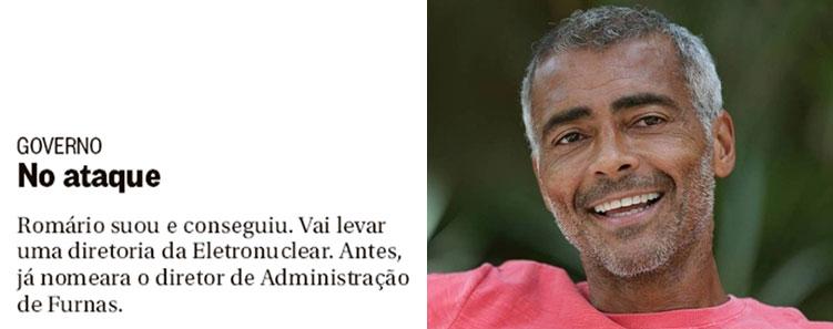 Nota do Globo; ao lado Romário