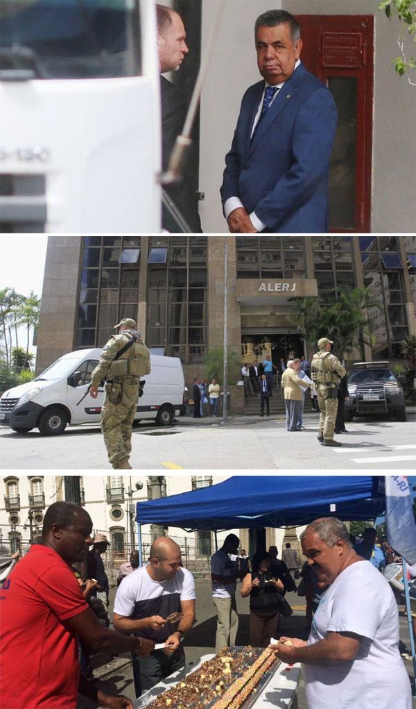 Picciani sendo levado pela Polícia Federal; Comando Tático da PF na ALERJ; servidores comemoram na frente da Assembleia