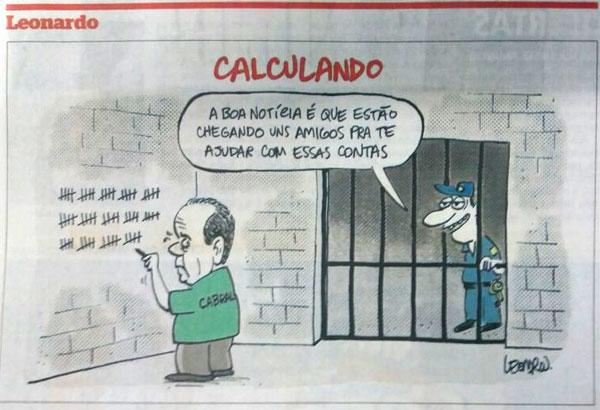 Charge de Leonardo, publicada no jornal Extra