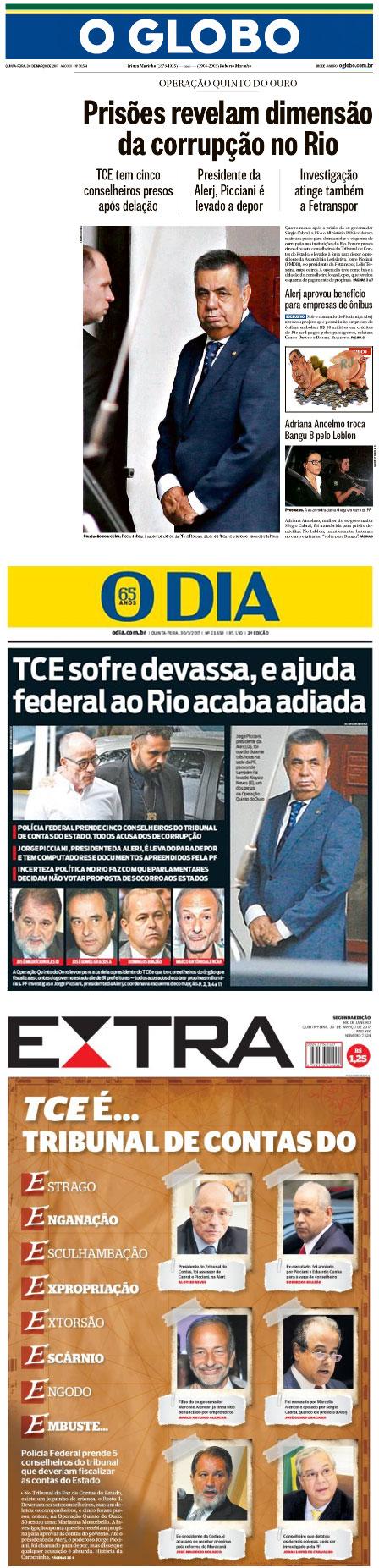 Capas dos principais jornais do Rio