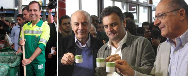 João Doria em dia de gari; ao lado o trio Serra, Aécio e Alckmin