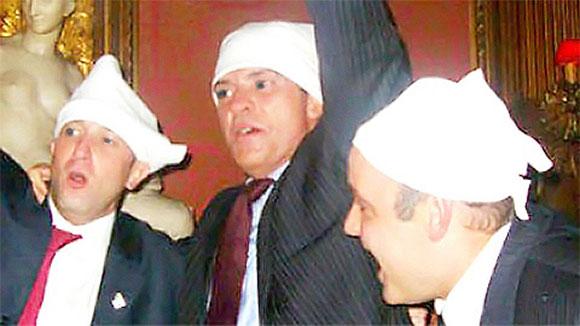 Sérgio Côrtes com Fernando Cavendish e Wilson Carlos numa farra da Gangue dos Guardanapos