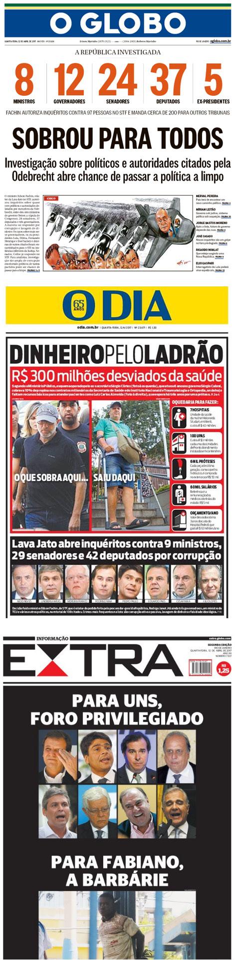 Manchetes de hoje dos jornais do Rio