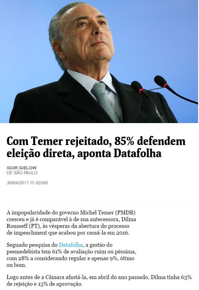 Michel Temer; abaixo matéria da Folha de S.Paulo