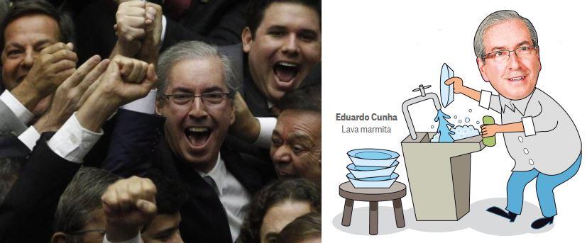 Eduardo Cunha comemorando a eleição como presidente da Câmara e lavando marmitas (montagem do Globo)