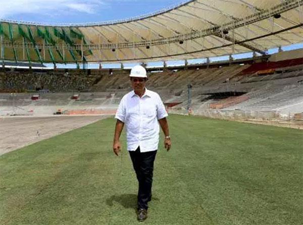 Pezão nas obras de reforma do Maracanã