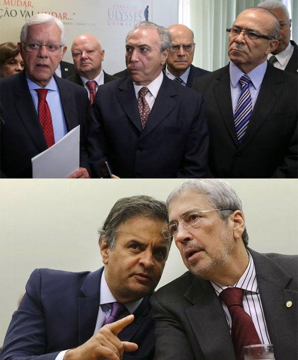 Moreira Franco, Michel Temer e Eliseu Padilha; abaixo Aécio Neves, padrinho da nomeação do deputado Antonio Imbassahy (PSDB-BA) como ministro da Secretaria de Governo