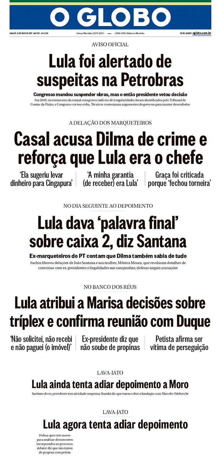 Reproduções da capa do Globo