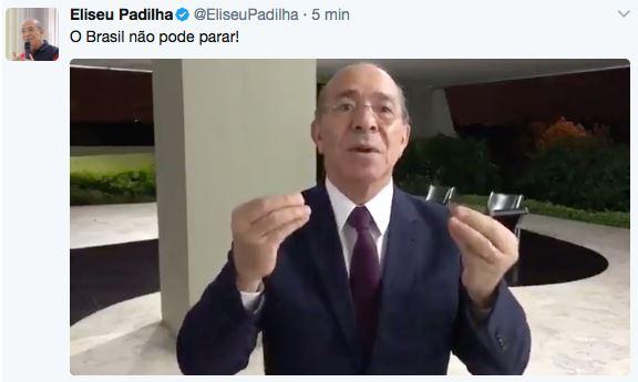 Reprodução do twitter de Eliseu Padilha