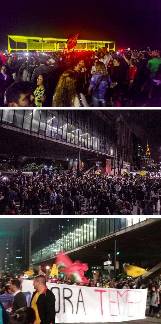 Protestos pedem a saída de Temer em frente ao Palácio do Planalto e na Avenida Paulista