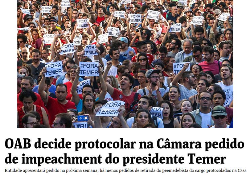 O povo nas ruas contra Temer; abaixo manchete da Folha de S.Paulo
