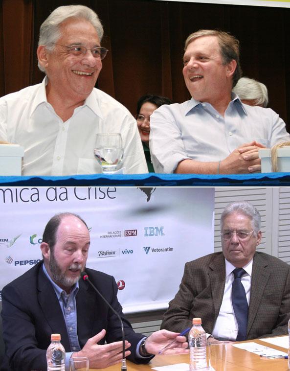 Fernando Henrique Cardoso com o senador Tasso Jereissati (PSDB-CE) e o economista Armínio Fraga