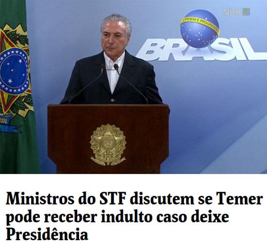 Temer no pronunciamento em negou a renúncia; abaixo manchete da Folha de S.Paulo