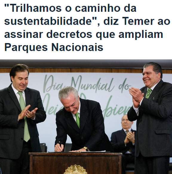 Reprodução do portal do Palácio do Planalto