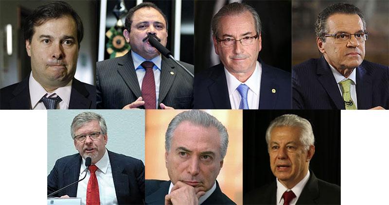 Da esquerda para a direita: Rodrigo Maia, Waldir Maranhão, Eduardo Cunha e Henrique Eduardo Alves (em cima); Marco Maia, Michel Temer e Arlindo Chinaglia